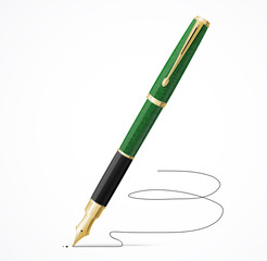 Vector Fountain pen isolated and signature
