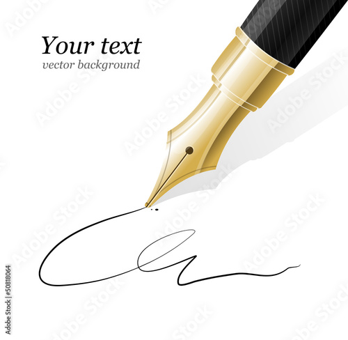 Vector Close up of a fountain pen and signature
