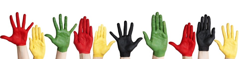 panorama of colorful hands