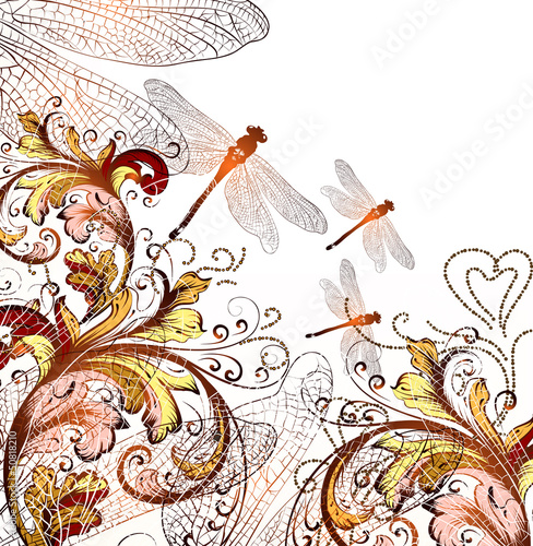 Cute floral hand drawn background with ornament  and  dragonfly