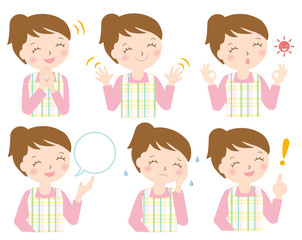 エプロン 女性 様々な表情