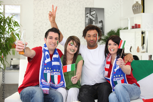 Italian football supporters at home