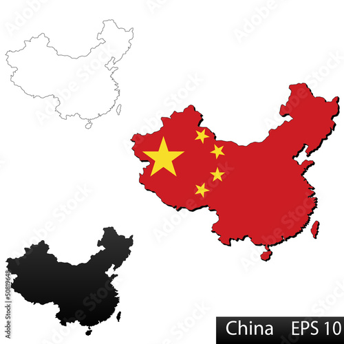 3D flag map of China