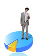 Businessman standing on 3d pie-chart
