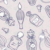 Hand drawn perfume fragrances bottles