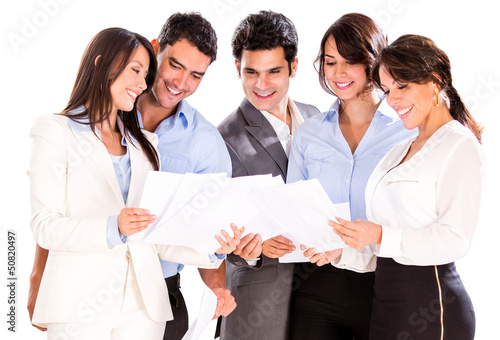 Business people reading documents