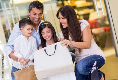 Happy family at the mall