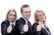 3 Personen im Businessanzug zeigen Daumen hoch in Kamera