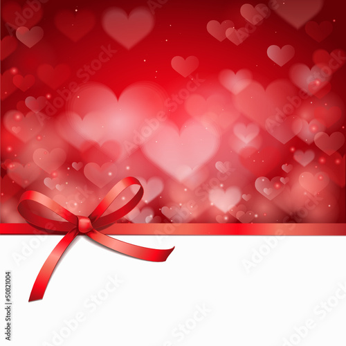 Rote Schleife mit Herzhintergrund