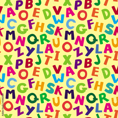 Vector seamless pattern with cartoon letters