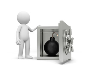 A 3d man standing at a safe, a bomb in the safe