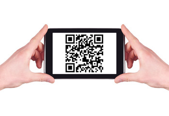 Scanning QR code with digital tablet isolated on white