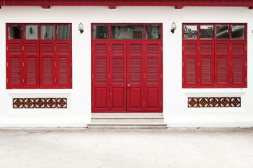 red door and window of temple