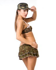 beautiful woman in sexy army look