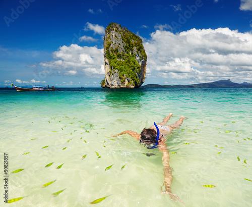 Tropical beach, snorkeling