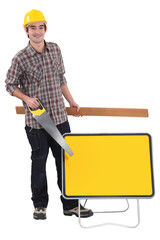 Workman with equipment