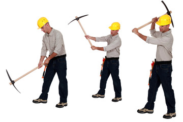 Multiple image of man using pick-ax