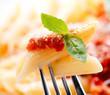 Pasta Penne with Bolognese Sauce, Basil and Parmesan
