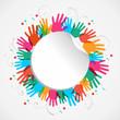 Color hand print circle