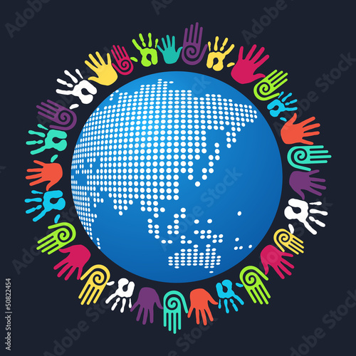 Diversity human hand Asian world