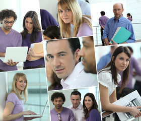 Images of a busy office
