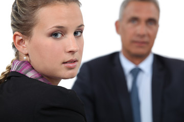 Boss having one-to-one with female employee