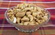 Whole Unsalted Cashews Dish Plaid Cloth