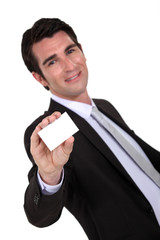 Businessman presenting his card