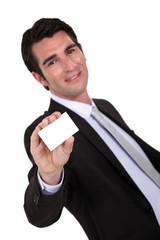 Businessman presenting his card