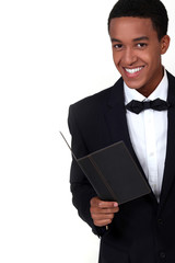 Waiter wearing tuxedo