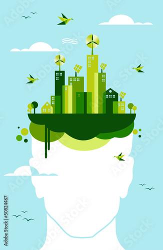 Green city people idea