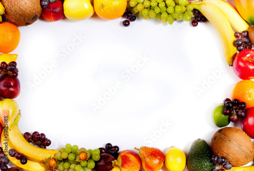 Border or frame of colorful fruits.