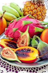 assortment of a fresh exotic fruits on a table.