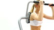 Beautiful blonde training on exerciser close-up