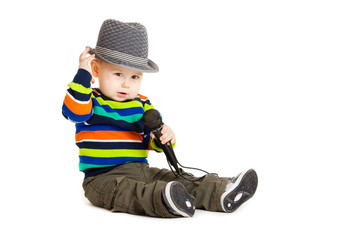 Portrait of happy beautiful little boy isolated on white backgro
