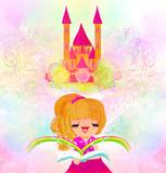little girl reading fairy tales