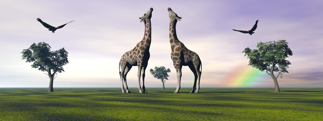 giraffes and birds and trees