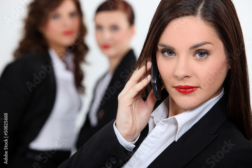 Brunette woman on the phone