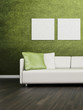 Modern white couch in front of colorful wall | 3d interior