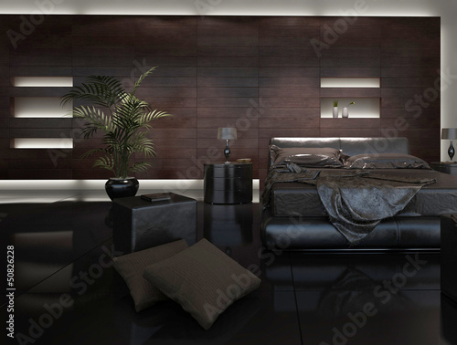Modern Design Bed Room with Black Pillows