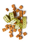 brown sugar cubes and measuring tape