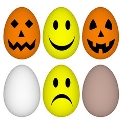 Eggs with easter and helloween smile - emoticon