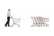 Full length portrait of a man returning an empty shopping cart