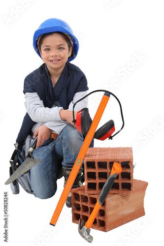Kid dressed as labourer