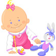 Vector cute baby girl playing with a toy rabbit