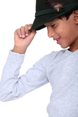 Child with black cap