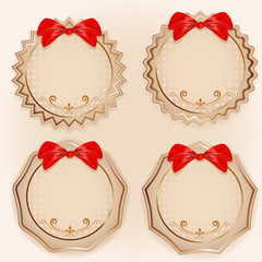 Abstract vintage labels set with bows.