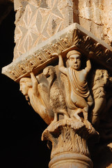 Detail of a capital in Monreale cloister