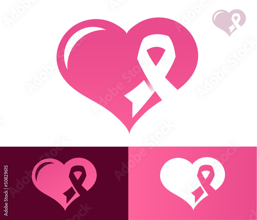 Pink Ribbon Heart Awarness Icon