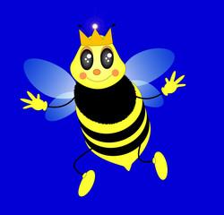 l'ape regina, illustrazione vettoriale stile cartone animato